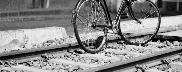 Bicyle between railway tracks